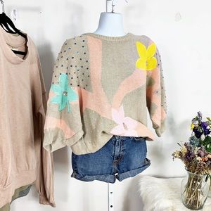 Vintage Retro Padded  Sequin Detail Sweater
